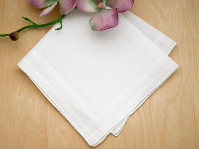 Set of 3 White Ladies Striped Handkerchiefs