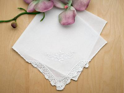 Set of 3 White Embroidered Handkerchiefs with Roses and Crochet