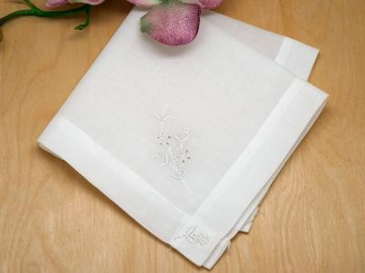 Set of 3 Ladies Handkerchiefs with Small Flower Embroidery