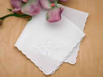 Set of 3 White Handkerchiefs with Wedding Bells