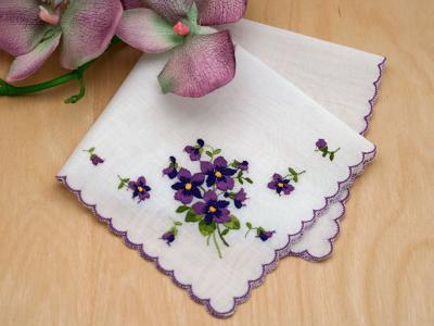 Swiss Violet Bridal Handkerchief