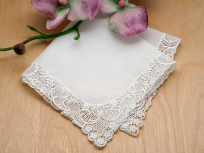 Floral Vine German Guipure Lace Ladies Handkerchief