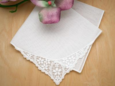 Daisy Pendant German Guipure Lace Ladies Handkerchief
