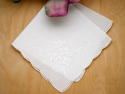 Scallop Edge German Ladies Handkerchief with Leaves
