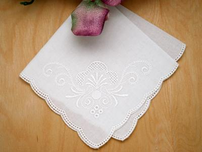 White Scallop Edge Regal Scroll German Handkerchief