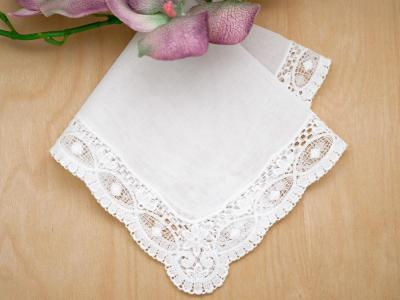 Swiss Scalloped Guipure Lace Ladies Handkerchief