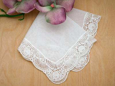 Swiss Crescent Moon Guipure Lace Ladies Handkerchief