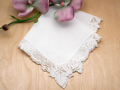 White Autumn Leaf Guipure Lace Handkerchief