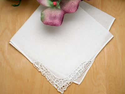 Irish Linen Shamrock Lace Bridal Handkerchief