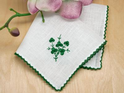 Irish Green Shamrocks Bridal Handkerchief