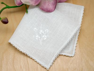 Irish Shamrocks Ladies Handkerchief with Lace