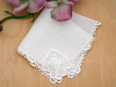 Irish Linen Shamrocks Lace Handkerchief