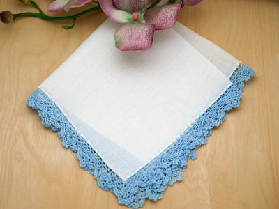 Set of 3 Scallop Crochet Lace Handkerchiefs with Blue Edges