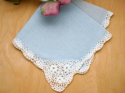 Blue Crochet Corner Lace Handkerchief