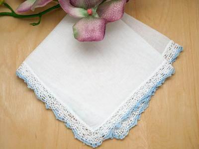 Set of 3 Small Blue Tip Crochet Lace