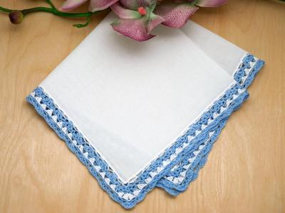 Swiss Blue and White Crochet Lace Handkerchiefs