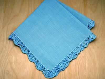 Swiss Blue Small Scallop Crochet Lace Handkerchief