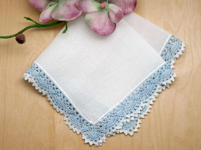 Swiss Crochet Lace Handkerchief with Blue Edges