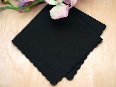 Black Scallop Edge Memorial Handkerchief