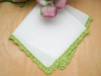 Small Crochet Lace Handkerchief with Green Edges