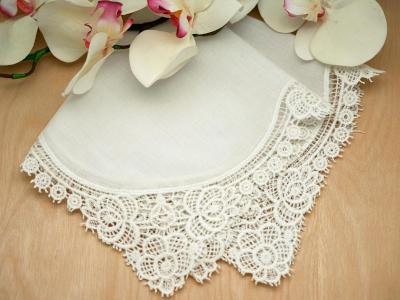 Set of 3 Ivory Peony Cluny Lace Wedding Handkerchiefs