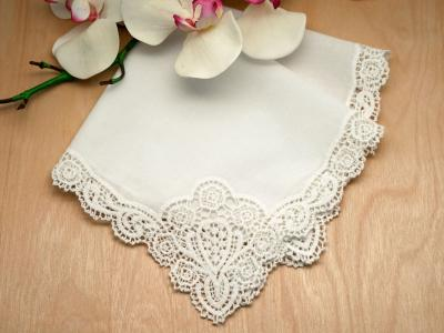 Set of 3 Ivory Regal Cluny Lace Wedding Handkerchief