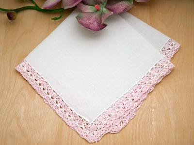 Pink and White Swiss Crochet Lace Handkerchiefs