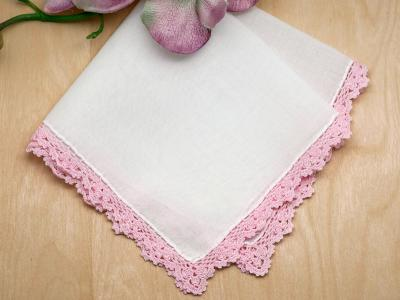 Set of 3 Small Crochet Lace Handkerchiefs with Pink Edges