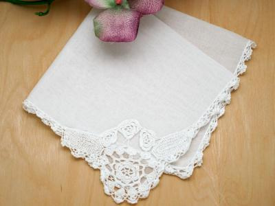 Set of 3 Rounded Floral Crochet Lace Corner Wedding Handkerchief