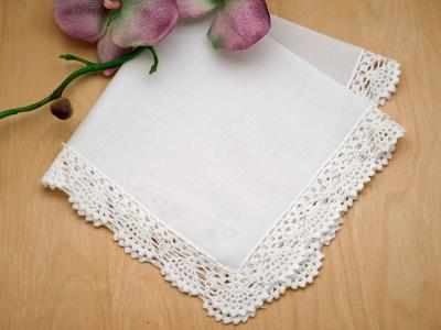 Set of 3 Scalloped Crochet Lace Wedding Handkerchiefs