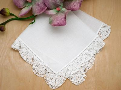 Scalloped Fan Crochet Lace Wedding Handkerchiefs
