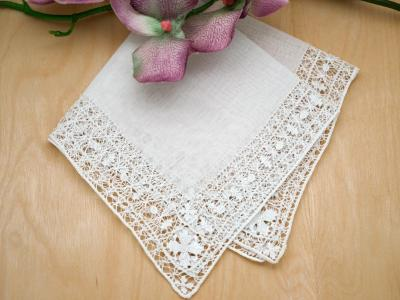 Intricate Venetian Drawnwork Lace Wedding Handkerchief