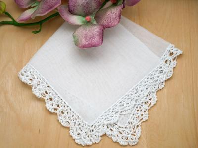 Set of 3 Small Crochet Lace Wedding Handkerchiefs