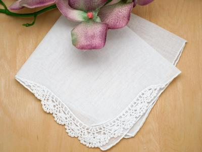 Personalized up to four lines of your choice hankie font n set of 3 crochet lace corner handkerchiefs junglespirit Images