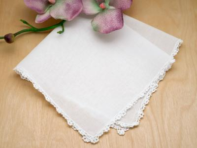 Set of 3 Small Scallop Ridge Crochet Lace Bridal Handkerchiefs
