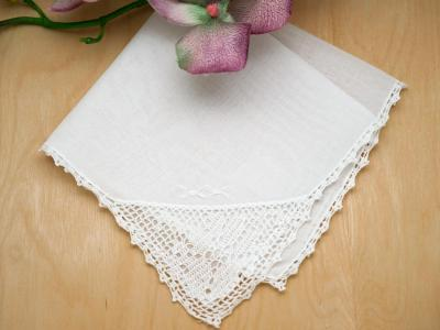 Set of 3 Crochet Lace Daisy Corner Handkerchiefs