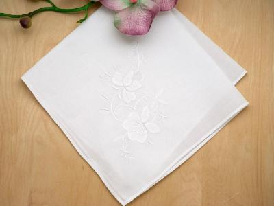 Set of 3 White Floral Applique Wedding Handkerchiefs