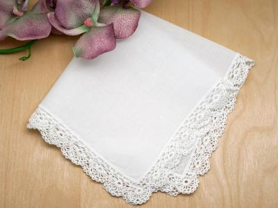 Set of 3 Fan Cluny Wedding Handkerchiefs