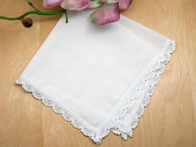 Set of 3 Small Crown Lace Wedding Handkerchiefs