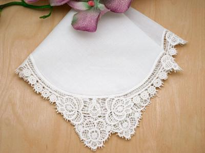 Set of 3 White Peony Cluny Lace Wedding Handkerchiefs