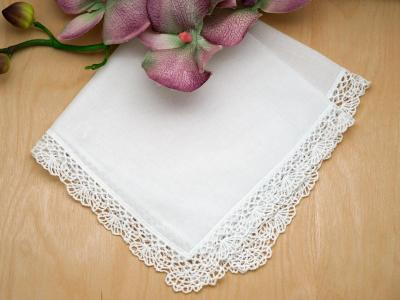 Set of 3 Shell Cluny Lace Wedding Handkerchiefs