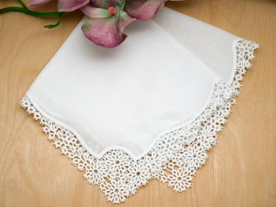 Set of 3 Daisy Cluny Lace Wedding Handkerchiefs