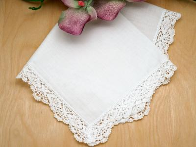 Set of 3 Floral Cluny Lace Wedding Handkerchiefs