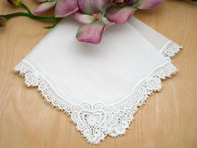 Set of 3 Claddagh Cluny Lace Wedding Handkerchiefs