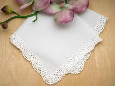 Set of 3 Scallop Cluny Wedding Handkerchiefs