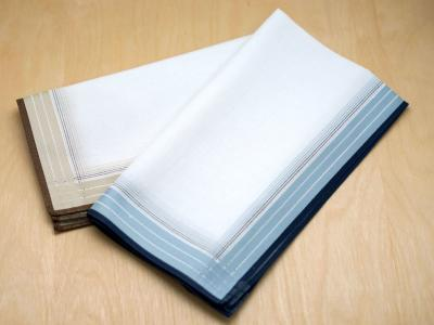 Set of 2 Mix Woven Striped Mens Handkerchiefs