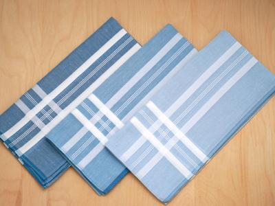 Set of 3 Different Shades of Blue Woven Mens Handkerchiefs