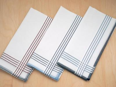 Set of 3 White Striped Woven Mens Handkerchiefs