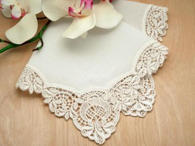 Ivory Duchess German Plauen Lace Womens Handkerchief