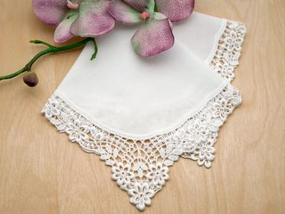 White Aster German Plauen Lace Ladies Handkerchief